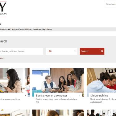 Library website homepage.