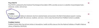 Screenshot of the PubMed link on the Databases A-Z.