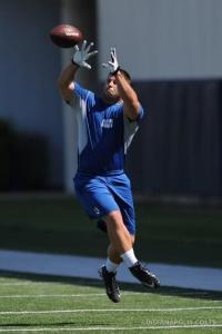 Dan Moore catches a pass at Wednesday's OTA workout.