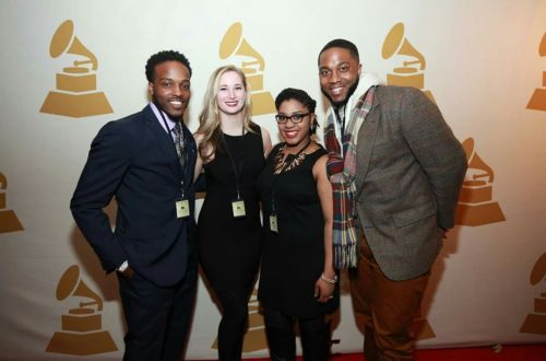 Recording Academy Chicago Chapter Grammy Watch Party 2016. Pictured with MAM '17 cohort (L-R, Brandon Saunders, Claire Grice, Brittani Alston (self), and Tone Ross)