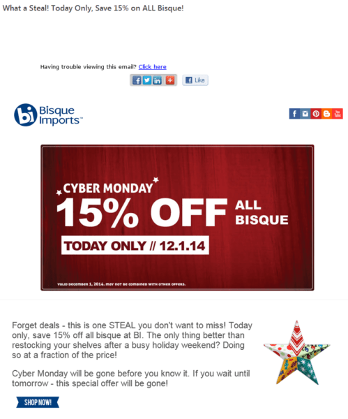 bisque imports cyber monday