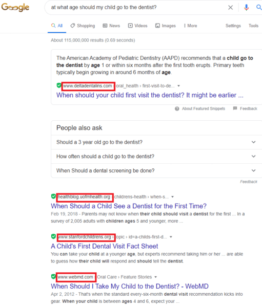Google search engine results for healthcare