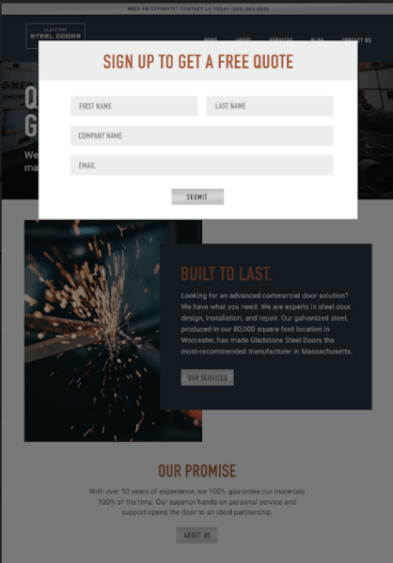 What makes a great manufacturer website? A website that has a pop-up sign-up form to convert qualified leads