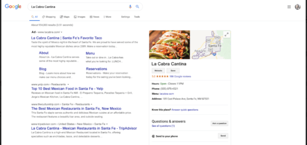 a good place for restaurant advertisements is Google Ads