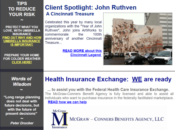 Insurance blog topic idea - interview or highlight noteworthy clients