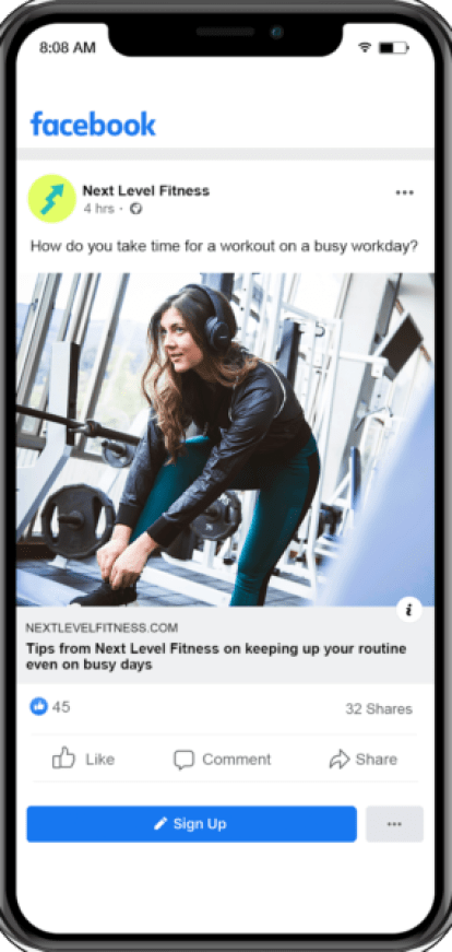fitness social media marketing can include snapshots of workouts or other health regimens