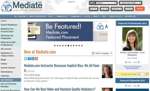 "Lawyer Directories - list of 20 directories - ""Mediate.com"" homepage"
