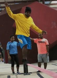 Aimur Pagawak maintains balance on a slackline
