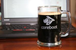 My coreboot mug filled with Lefthand Milk stout Nitro.