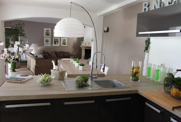 Une cuisine lgante ouverte sur la pice  vivre  Visite prive  Cotemaisonfr