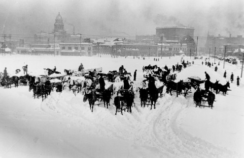 Snow removal, 1913 blizzard