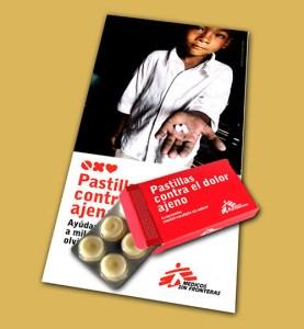 """La campaña """"Pastillas contra el dolor ajeno"""" sensibilizó a la población para erradicar el dolor del tercer mundo. (FOTO: MSF)"""