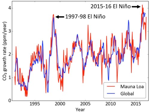 small resolution of figure 2 the co2 growth rate as measured by the increment of one month over the same month in the previous year the inter annual variations in the co2