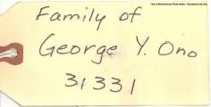 1940's - Ono Family Tag