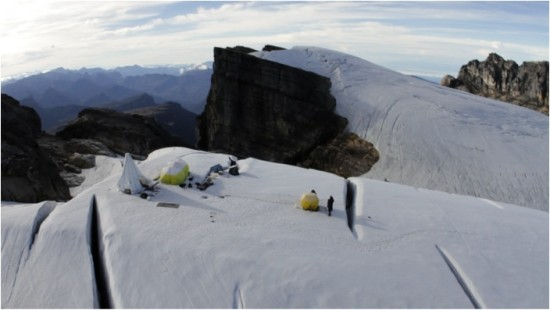 The site before weather moves in; note the crevasses