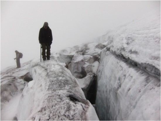 On the way back to our camp, the crevasses require careful steps