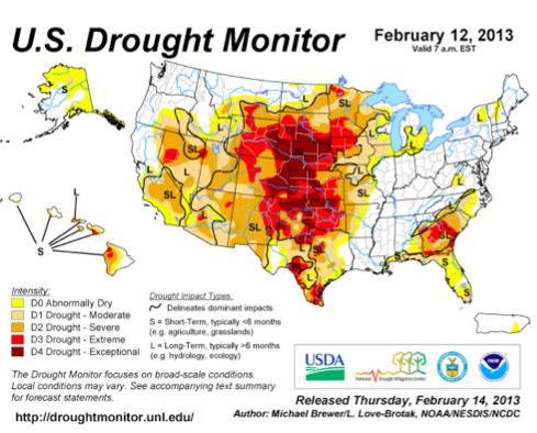 US drought Feb. 13 2013