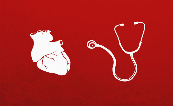 Image of heart and stethoscope on red background