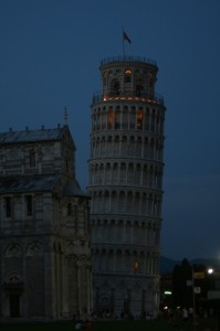 The tower lit up at night