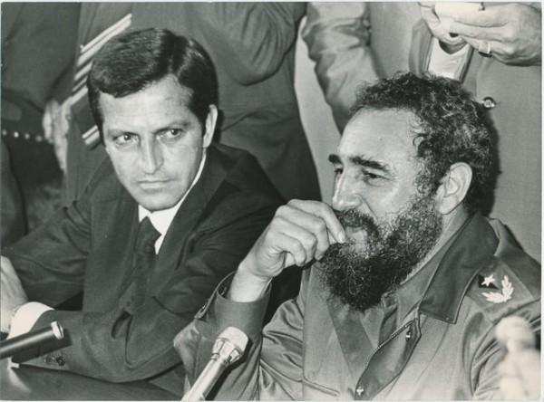 Rueda de prensa de Adolfo Suárez y Fidel Castro.