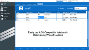 Easily use ADO-Compatible databases in Delphi using Winsoft's Adonis