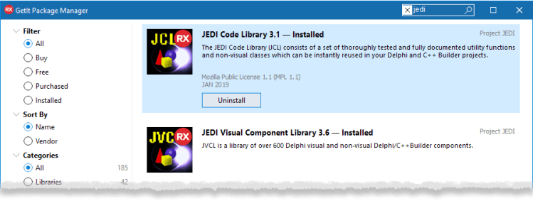 JEDI's JCL & JVCL are updated for 10.3 Rio and top the list of most popular downloads