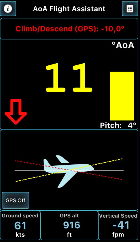 AoA flight Assistant screen 6