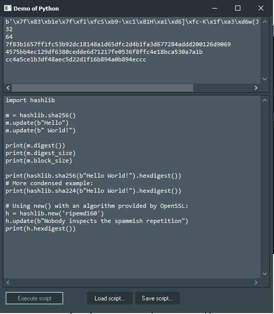 hashlib Demo with Python4Delphi in Windows.