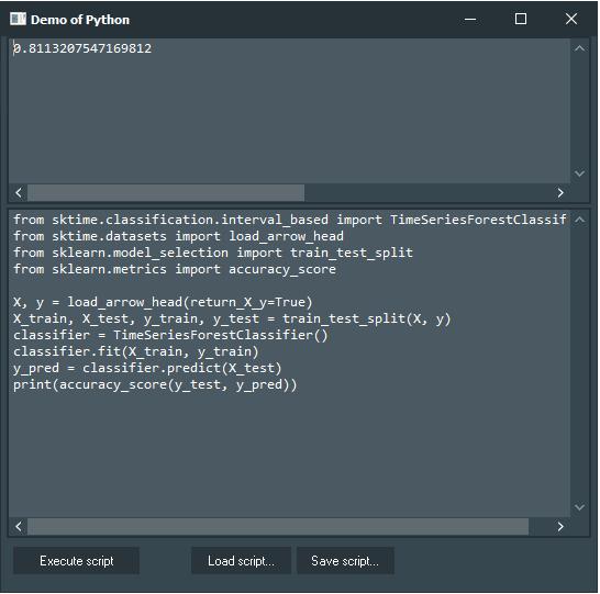 sktime Demo with Python4Delphi in Windows.