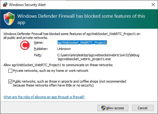 Learn to Use Powerful SGC WebSockets WebRTC in C++ Builder Windows firewall message
