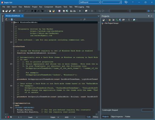 What Is It Like To Be A Developer Joe C. Hecht? Delphi dark mode for nighthawk coders