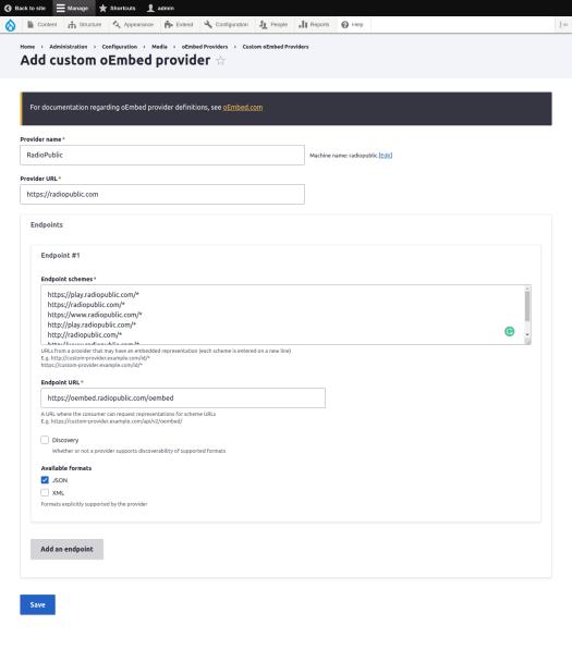 Add Custom oEmbed Provider