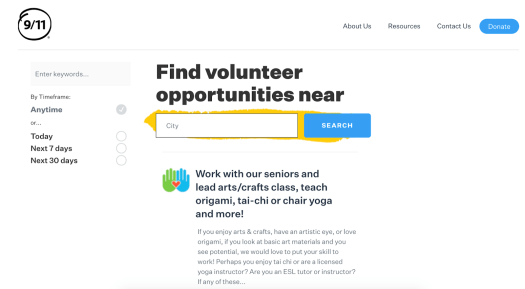 The search engine for discovering volunteer work options on the 911day.org website. You can search using keywords or location.
