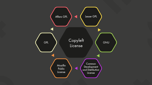 The popular examples of copyleft licenses are shown in the image using a diagram.