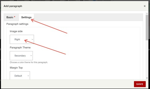 In the paragraph settings, we select where our image should be displayed on our services page