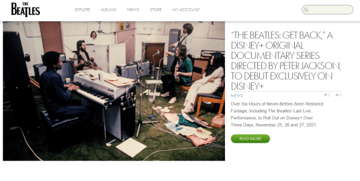 The homepage of The Beatles website is shown.
