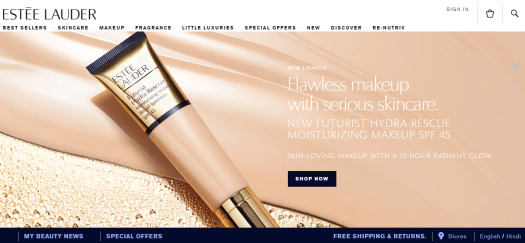 The homepage of Estee Lauder can be seen.