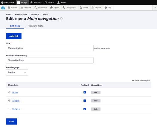 Drupal 8 menu management