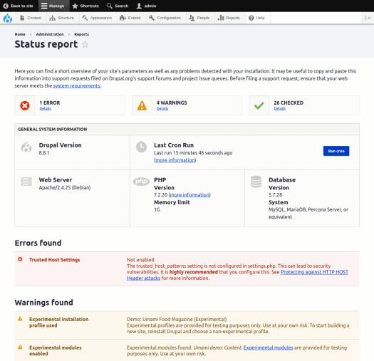 Drupal 8 status report page