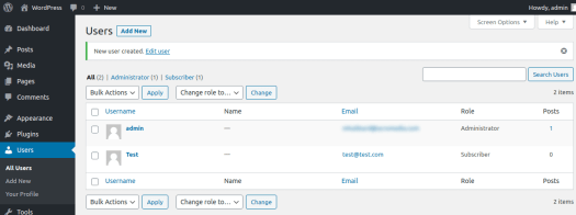 WordPress user management
