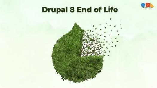 Illustration diagram describing the end of life of Drupal 8