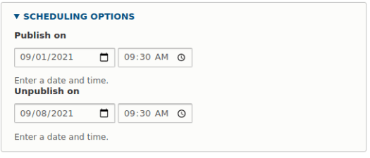 Setting the time of publication of the article and unpublishing in the Drupal Scheduler module