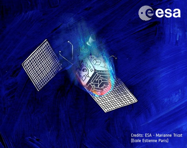 A satellite re-enters the atmosphere and starts melting Credits: ESA - Marianne Tricot (Ecole Estienne Paris)