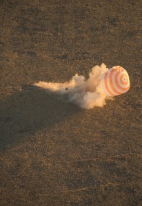 Soyuz TMA-09M is seen moments before it lands southeast of the town of Zhezkazgan, Kazakhstan with the crew of Expedition 37. Credits: NASA/C.Cioffi
