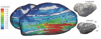 Científicos de Rosetta que miden la composición de la atmósfera del cometa 67P o coma descubrieron que varía mucho en el tiempo.  Las grandes fluctuaciones en la composición en un estado de coma heterogénea indican día-noche y posiblemente variaciones estacionales de las principales especies de desgasificación: H2O, CO y CO2.  La región roja donde CO y CO2 dominan es una parte de la cometa que está mal iluminado, indicando una compleja relación coma-núcleo, donde las variaciones estacionales pueden ser impulsadas por las diferencias de temperatura justo por debajo de la superficie del cometa.  Crédito Forma modelo: ESA / Rosetta / MPS para OSIRIS equipo MPS / UPD / LAM / IAA / SSO / INTA / UPM / DASP / IDA