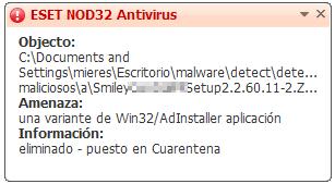 Detección por ESET NOD32 Antivirus