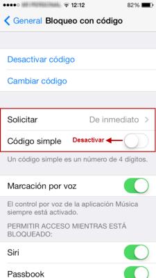 Bloqueo iOS más de cuatro caracteres