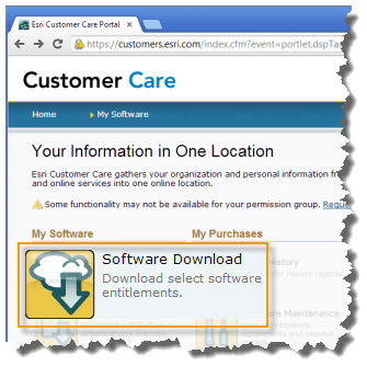 Esri Customer Care Portal Software Download link