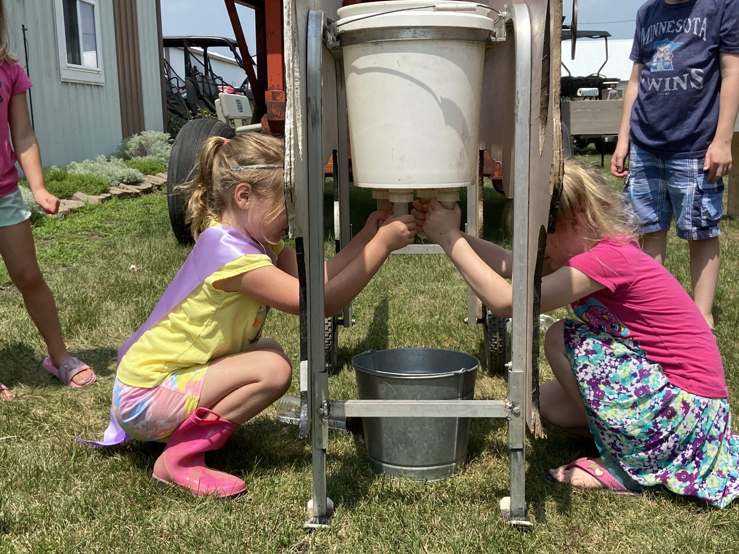 kids milking model milking cow