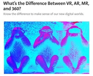 Medium Story: What's the difference VR, AR, MR and 360